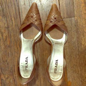 Tan Prada kitten heels